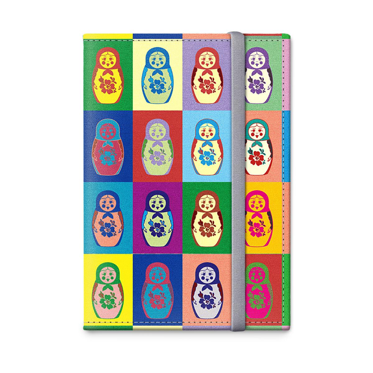 Обложка для паспорта оРЗ-дизайн Матрешки, цвет: красный, голубой. Орз-0323Орз-0323Обложка на паспорт текстильная с авторским принтом