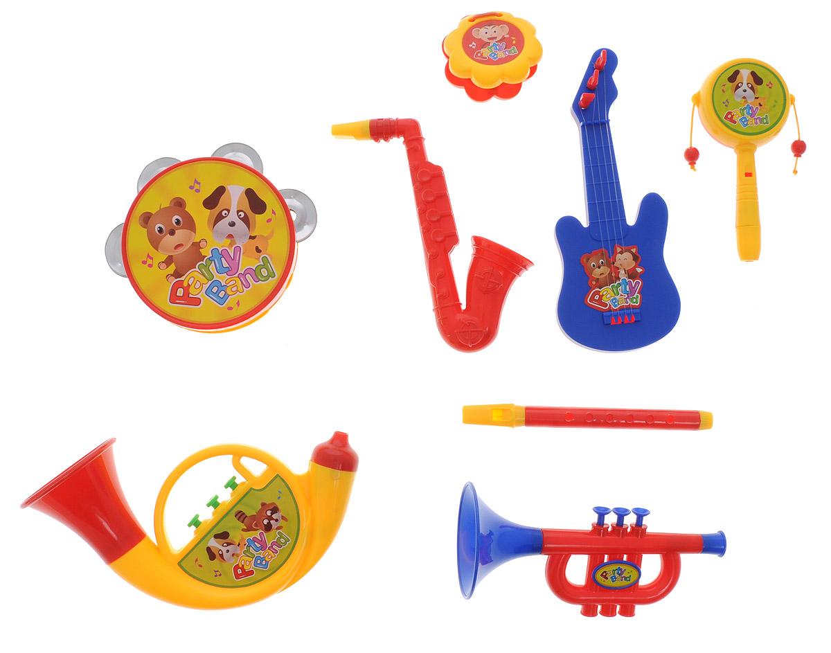 ABtoys Набор музыкальных инструментов Веселый оркестр цвет трубы желтый 8 предметовD-00021(899B-5)Набор музыкальных инструментов ABtoys Веселый оркестр привлечет внимание вашего ребенка и позволит ему создать незабываемый концерт. Набор включает бубен, саксофон, трубу, кастаньеты, тубу, флейту, электрогитару, барабанчик-колотушку. Предметы набора выполнены в яркой цветовой гамме из прочного пластика и оформлены изображениями забавных зверей. Малыш сможет часами играть с набором и придумывать свои веселые мелодии. Порадуйте его таким замечательным подарком!