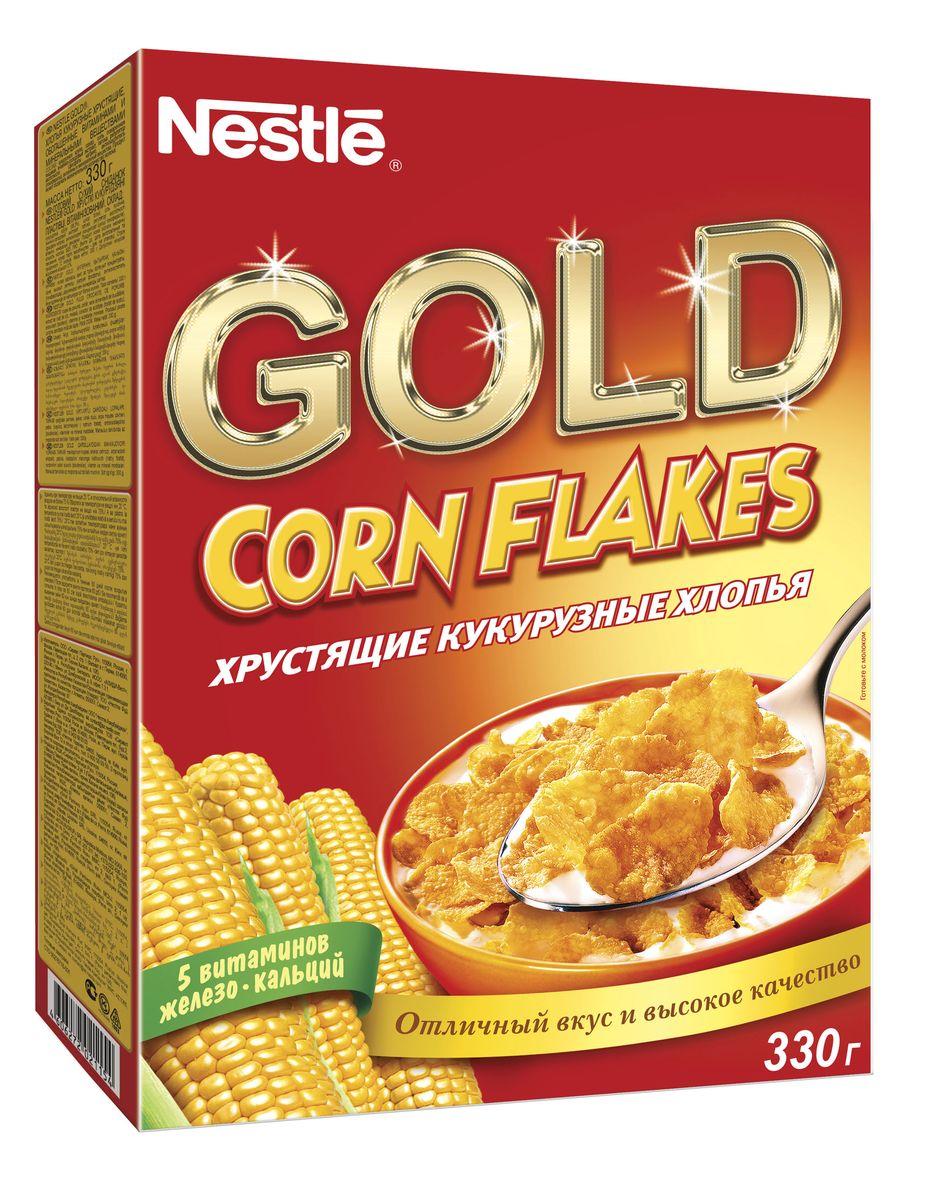 Готовый завтрак Nestle Gold Corn Flakes - это отличный завтрак для всей семьи. Хрустящие кукурузные хлопья дополнительно обогащены комплексом витаминов. Каждая порция готового завтрака более чем на 15% удовлетворяет рекомендуемую суточную потребность в витаминах B2, B3 (ниацине), B5 (пантотеновой кислоте), B6 и B9 (фолиевой кислоте). Вы любите начинать утро с полезного, качественного и вкусного завтрака? Вы привыкли выбирать для себя только самое лучшее? Тогда кукурузные хлопья Gold Corn Flakes - для вас! Хлопья рекомендуется употреблять с молоком, кефиром, йогуртом или соком.