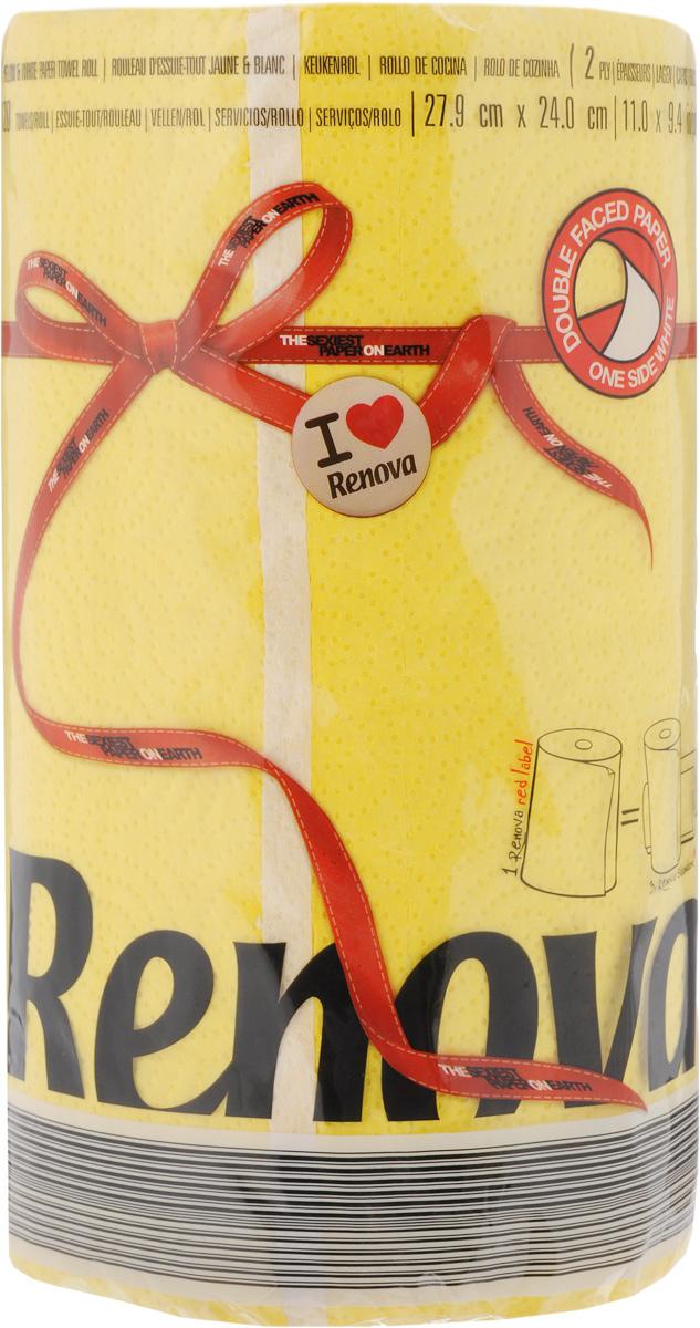 Полотенца бумажные Renova Red Label, двухслойные, цвет: желтый, 120 шт20916Двухслойные бумажные полотенца Renova Red Label, выполненные из натуральной целлюлозы, помогут обеспечить порядок и привнесут оригинальность в интерьер вашей кухни. Они способны поглощать большое количество жидкости, при этом оставаясь прочными и не разрываясь. Бумажные полотенца Renova Red Label совмещают в себе дизайн и текстуру, создавая возвышенную эстетику. Количество рулонов: 1 шт. Количество слоев: 2. Количество листов в рулоне: 120 шт. Размер листа: 27,9 х 24 см.