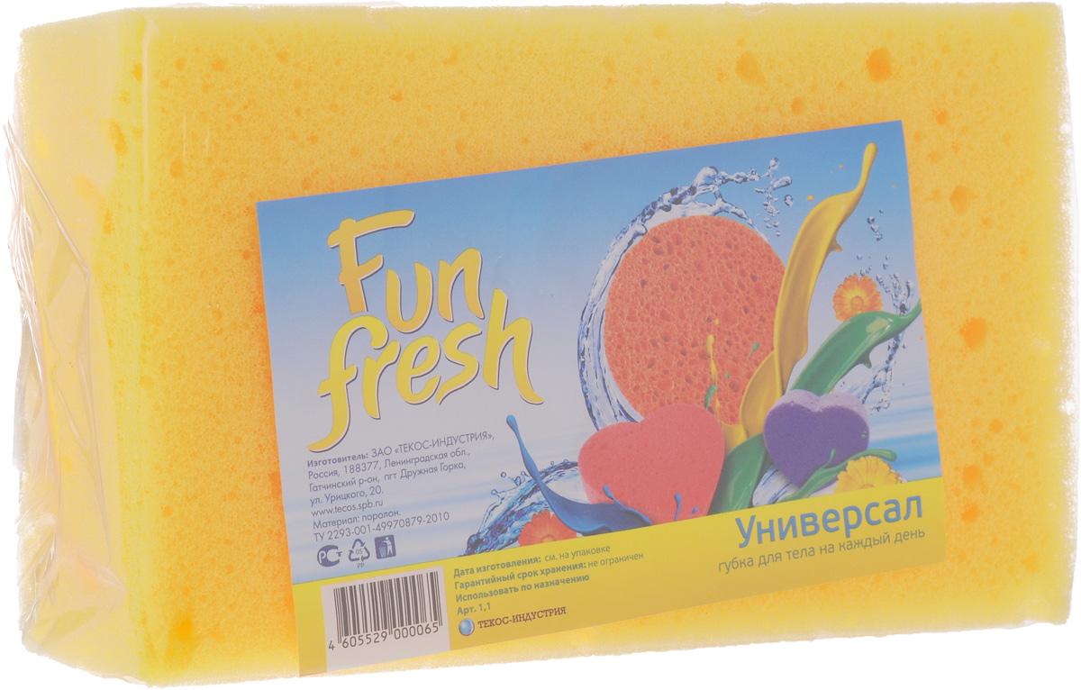 Губка для тела Fun Fresh Универсал, 16 х 10 х 4,5 см1. 1Губка для тела Fun Fresh Универсал изготовлена из мягкого поролона. Идеально подходит для нежной, чувствительной кожи. Пористая структура губки создает воздушную пену даже при небольшом количестве геля для душа.