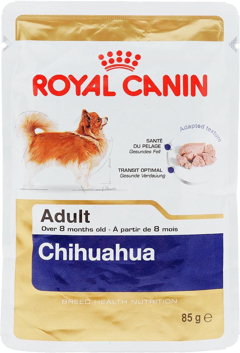 Консервы Royal Canin Chihuahua Adult, для собак породы чихуахуа в возрасте старше 8 месяцев, паштет, 85 г60619Консервы Royal Canin  Chihuahua Adult специально созданы для собак чихуахуа в возрасте старше 8 месяцев. Высокая вкусовая привлекательность. Стимулирует аппетит даже у самых разборчивых чихуахуа, благодаря отборным натуральным ароматизаторам и специальной адаптированной текстурой. Оптимальная работа пищеварительной системы. Корм способствует поддержанию здоровья пищеварительной системы. Здоровье кожи и шерсти. Продукт содержит питательные вещества, которые помогают поддерживать идеальное состояние кожи и шерсти. Состав: мясо и мясные субпродукты, злаки, субпродукты растительного происхождения, масла и жиры, минеральные вещества, углеводы. Добавки (в 1 кг): Витамин D3: 179 ME, Железо: 27 мг, Йод: 0,16 мг, Марганец: 8,4 мг, Цинк: 84 мг. Товар сертифицирован.