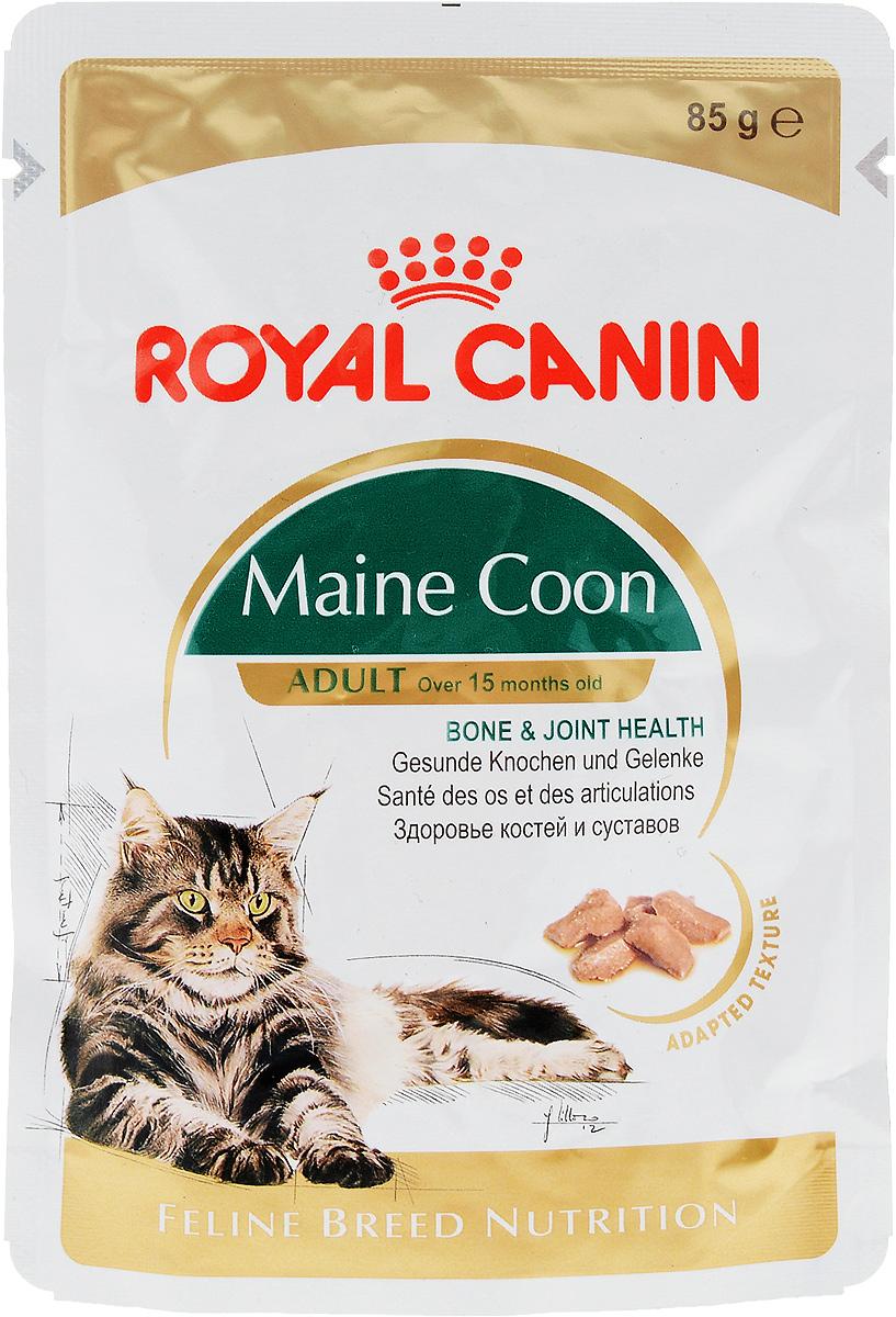 """Консервы Royal Canin """"Maine Coon Adult """", для кошек породы Мейн-кун в возрасте старше 15 месяцев, мелкие кусочки в соусе, 85 г"""