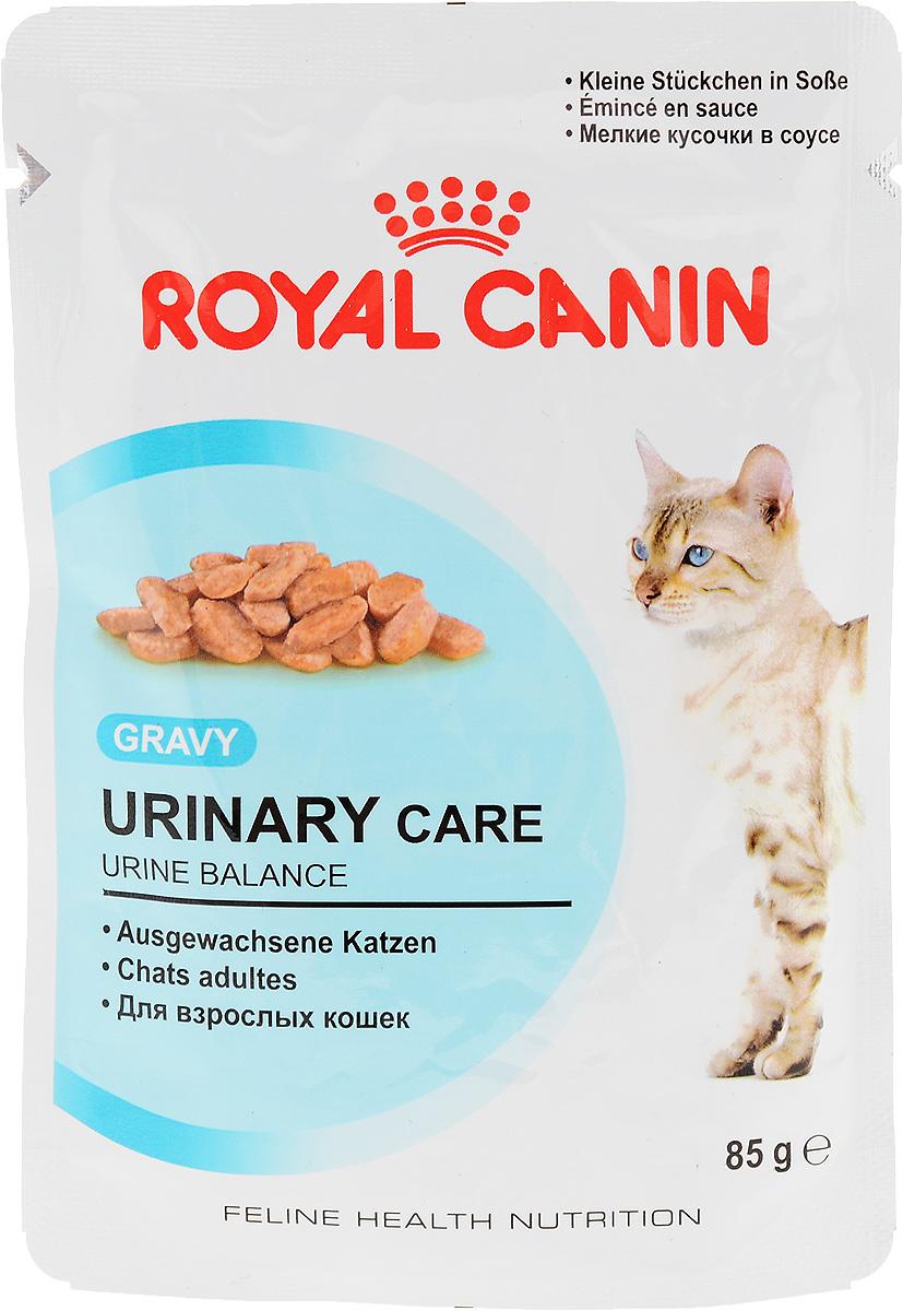 """Консервы Royal Canin Urinary Care, для взрослых кошек, мелкие кусочки в соусе, 85 г59642Консервы Royal Canin Urinary Care специально созданы для профилактики камней в мочевыводящих путях у взрослых кошек. Кристаллы могут образовываться даже в моче здоровых кошек. Некоторые факторы, в том числе уровень рН мочи, повышают риск превращения кристаллов в камни. Правильное питание помогает снизить интенсивность образования кристаллов в моче. Urinary Care"""" - тщательно сбалансированная формула, способствующая поддержанию здоровья мочевыводящих путей. Доказана эффективность продукта, в частности, против образования кристаллов струвита. Рекомендации: побуждайте кошку пить как можно больше воды. Таким образом увеличивается суточный объем отделяемой мочи и снижается ее концентрация, что благоприятно для здоровья мочевыводящих путей. Если у вас есть какие-либо вопросы относительно здоровья мочевыводящих путей вашей кошки, обратитесь к ветеринарному врачу. Состав: мясо и мясные субпродукты, злаки, субпродукты растительного происхождения,..."""