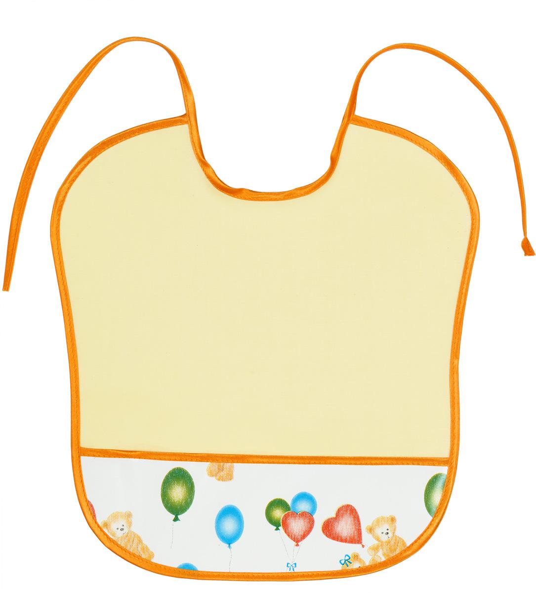 Колорит Нагрудник защитный с карманом 33 см х 33 см цвет желтый0083Защищает одежду, не промокает.
