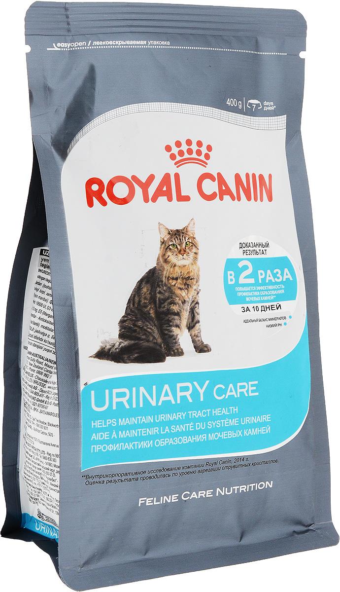 """Корм сухой Royal Canin Urinary Care, для взрослых кошек, 400 г59639Сухой корм Royal Canin Urinary Care специально создан для профилактики камней в мочевыводящих путях у взрослых кошек. Кристаллы могут образовываться даже в моче здоровых кошек. Некоторые факторы, в том числе уровень рН мочи, повышают риск превращения кристаллов в камни. Правильное питание помогает снизить интенсивность образования кристаллов в моче. Urinary Care"""" - тщательно сбалансированная формула, способствующая поддержанию здоровья мочевыводящих путей. Доказана эффективность продукта, в частности, против образования кристаллов струвита. Рекомендации: побуждайте кошку пить как можно больше воды. Таким образом увеличивается суточный объем отделяемой мочи и снижается ее концентрация, что благоприятно для здоровья мочевыводящих путей. Если у вас есть какие-либо вопросы относительно здоровья мочевыводящих путей вашей кошки, обратитесь к ветеринарному врачу. Состав: злаки, дегидратированные белки животного происхождения (птица), рис,..."""