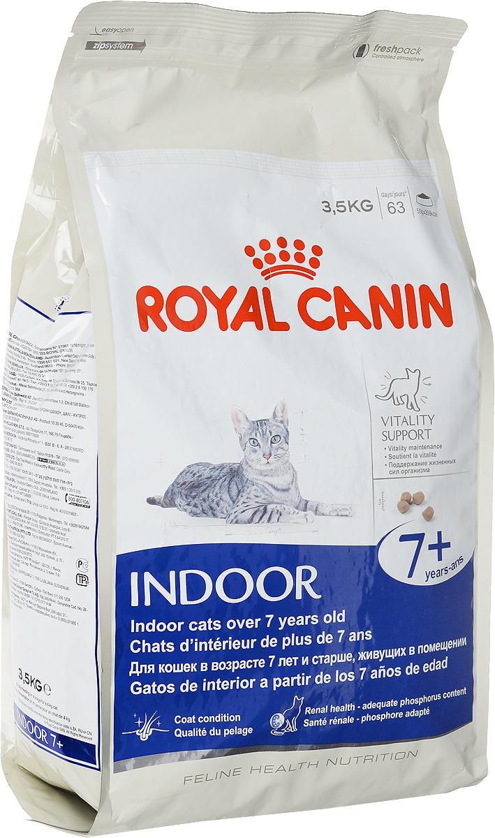 Корм сухой Royal Canin Indoor 7+, для кошек в возрасте от 7 до 12 лет, живущих в помещении, 3,5 кг44439Корм сухой Royal Canin Indoor +7 - полнорационное питание для пожилых кошек с 7 до 12 лет, постоянно проживающих в помещении. Для поддержания жизненных сил стареющей кошки. Корм Indoor 7+ помогает сохранять молодость кошки благодаря запатентованному комплексу витаминов и питательных веществ с антиоксидантными свойствами и полифенолам зеленого чая и винограда. Хондропротекторные вещества и незаменимые жирные кислоты EPA и DHA, содержащиеся в этом корме, поддерживают здоровье суставов кошки. Красота и блеск шерсти кошки: улучшает блеск шерсти и здоровье кожи благодаря присутствию в корме активных питательных веществ, в том числе витаминов А и В, незаменимых жирных кислот, микроэлементов в хелатной форме, масла огуречника аптечного (богатого гамма-линоленовой кислотой) и рыбьего жира (источника жирных кислот Омега 3). Обеспечение здоровья почек - адекватное содержание фосфора: адаптированный уровень фосфора (0,79%) ...