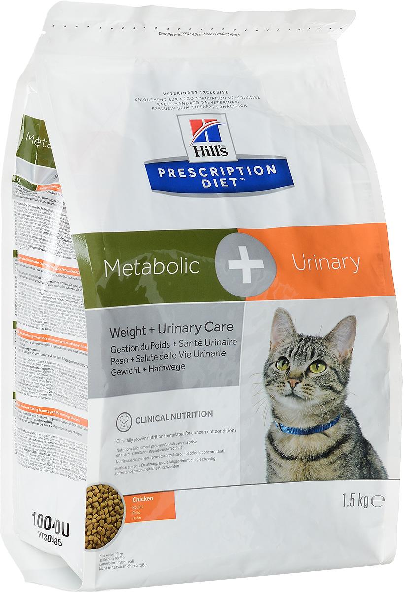 Корм сухой диетический Hills Metabolic + Urinary Feline, для кошек, для снижения веса и растворения струвитов, с курицей, 1,5 кг10040Hills Prescription Diet Metabolic + Urinary Feline - это полноценный диетический рацион для кошек для снижения веса, растворения струвитов и уменьшения вероятности рецидива струвитного уролитиаза (заболевания нижнего отдела мочевыводящих путей). Это диетический рацион с пониженной энергетической плотностью и закисляющими мочу свойствами, содержит низкий уровень магния. Рекомендуется применять: 1. На начальном этапе у кошек с любым типом заболевании нижних отделов мочевыводящих путей, в том числе кристаллурией и уролитиазом любого генеза, уретральными пробками и идиопатическим циститом кошек. 2. Для растворения стерильных струвитных уролитов. 3. Для долговременного использования для кошек, склонных к: - Образованию струвитных кристаллов и уролитов, кристаллов и уролитов кальция оксалата и кальция фосфата (снижение появления и частоты рецидивов); - Формированию уретральных пробок (почти всегда вызванных кристаллами струвита или...