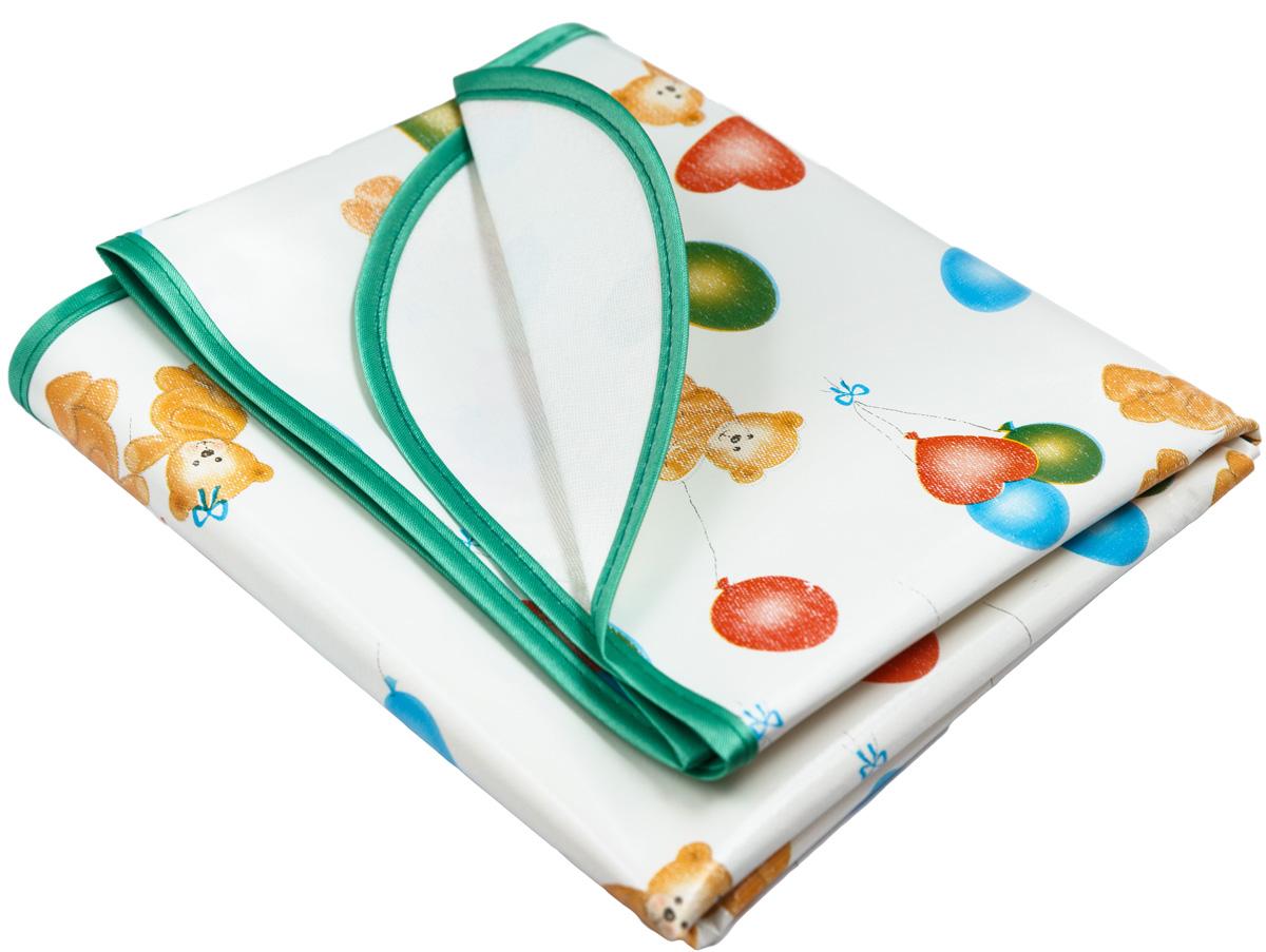 Колорит Клеенка подкладная с резинками-держателями 50 см х 70 см рисунок мишки с шариками на белом фоне0063_белый фон с рисункомКлеенка подкладная с ПВХ покрытием Колорит с резинками-держателями (окантована по краям тесьмой для детских колясок) размер 0,5*0,7м(+/-0,02м, предназначена для санитарно-гигиенических целей в качестве подкладного материала в медицинской практике и в домашних условиях. ПВХ покрытие влагонепроницаемо, отсутствует эффект холодного прикосновения. Микропористая структура поливинилхлоридного покрытия способствует профилактике пролежней и трофических проявлений.