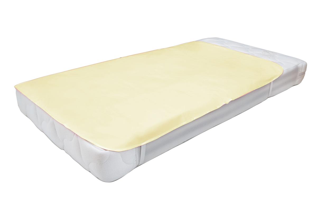 Колорит Клеенка подкладная с резинками-держателями 100 смх 70 цвет белый0064_белыйКлеенка подкладная с ПВХ покрытием Колорит с резинками-держателями (окантована по краям тесьмой для детских кроваток) размер 1,0*0,7м(+/-0,02м), предназначена для санитарно-гигиенических целей в качестве подкладного материала в медицинской практике и в домашних условиях. ПВХ покрытие влагонепроницаемо, отсутствует эффект холодного прикосновения. Микропористая структура поливинилхлоридного покрытия способствует профилактике пролежней и трофических проявлений.