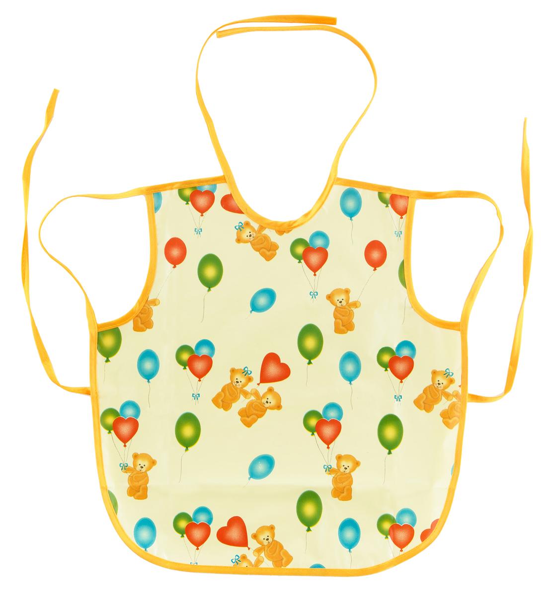 Колорит Фартук защитный 36 см х 36 см рисунок мишки с шариками на желтом фоне0071_желтый фон с рисункомЗащищает одежду, не промокает.