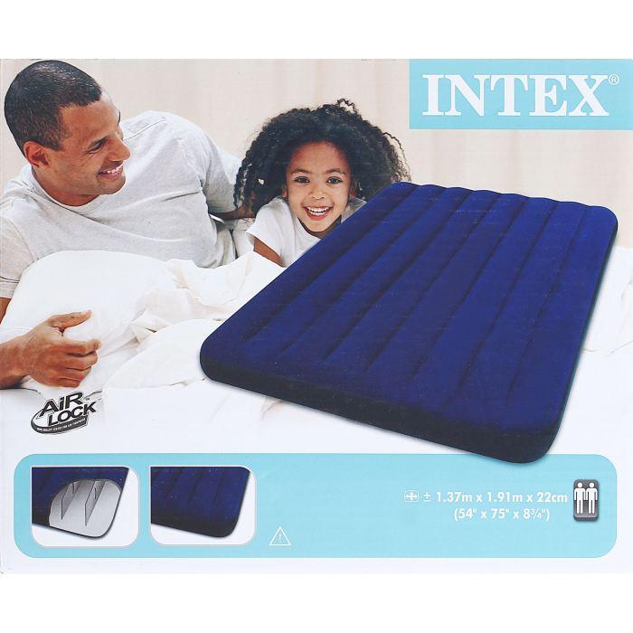 Матрас надувной Intex Classic Downy Full 137х191х22 см, цвет: синий. 68758 533059