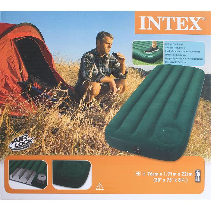 Матрас надувной Intex Downy Jr. Twin 76х191х22, цвет: зеленый. 66950 549095