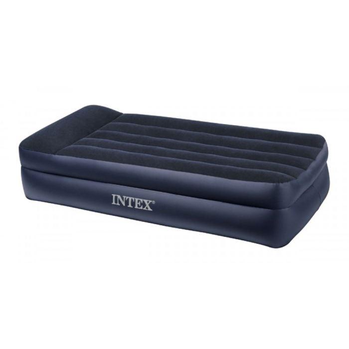 Кровать надувная Intex Twin 99x191x42 см, цвет: черный. 66721549098Кровать надувная с подголовником Twin изготовлена из высококачественных материалов. Велюровая поверхность кровати избавит вас от проблем скольжения постельного белья. Наличие двух прочных камер повышает комфортабельность кровати, так как нижняя часть выступает в роли каркаса и дает большую устойчивость. Кровать оснащена подголовником и продольными перегородками, что обеспечит вам полноценный отдых. Изделие можно надувать и сдувать за считанные минуты любым удобным для вас насосом, а наличие клапанов окажет Вам в этом незаменимую помощь. В комплекте прилагается удобная сумка для переноса кровати, так как в свернутом виде она настолько мала, что вам захочется везде брать ее с собой и быть уверенным в прекрасном отдыхе в любых условиях. Кровать надувная с подголовником Twin 99x191x42 см
