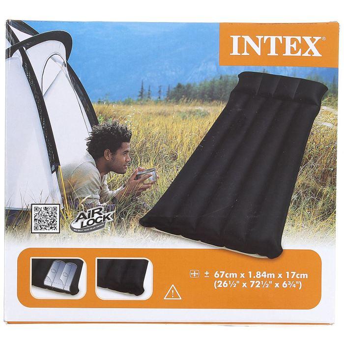 Матрас Intex Camping 67х184х17 см, цвет: черный. 68797561619Матрас Camping – прекрасный выбор для тех, кто не хочет отказываться от комфорта даже в походе. Он превосходно сгладит все неровности поверхности, и позволит вам отлично выспаться на свежем воздухе.Данная модель одноместная, это значит, что вес матраса будет минимальным. Плотный ПВХ и технология производства не допустят прокола от небольших камушков или других механических факторов. Матрас Camping 67х184х17 см