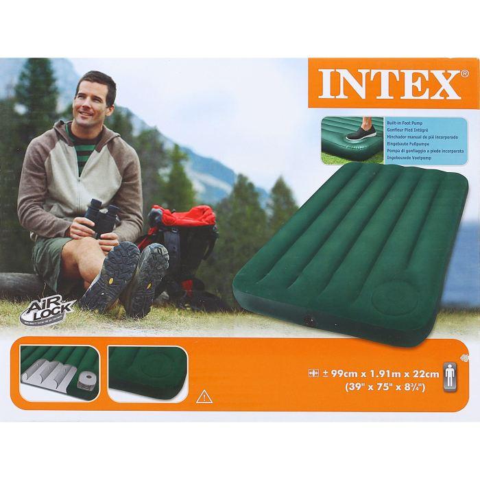 Матрас надувной Intex Downy Twin 99х191х22 см, цвет: зеленый. 66927573819Матрас оснащен встроенным ножным насосом. Все что вам нужно - поставить палатку, разложить матрас и накачать его за несколько минут.Осталось только лечь сладко спать, ведь вы теперь не будете чувствовать спиной каждый камушек, холмик или шишечку. Размер данного матраса идеально подойдет для мужчин, девушек или подростков. Матрас надувной Downy Twin 99х191х22 см, с встроеным ножным насосом