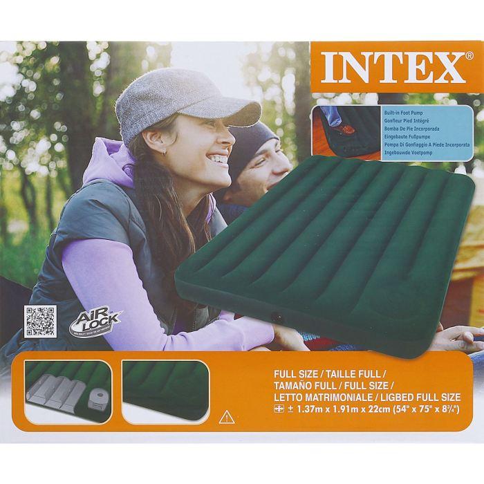 Матрас надувной Intex Downy Full 137х191х22 см, цвет: зеленый.589420Матрас оснащен встроенным ножным насосом. Все что вам нужно - поставить палатку, разложить матрас и накачать его за несколько минут. Осталось только лечь сладко спать, ведь вы теперь не будете чувствовать спиной каждый камушек, холмик или шишечку. Размер данного матраса идеально подойдет для комфортного сна двух человек. Матрас надувной Downy Full 137х191х22 см