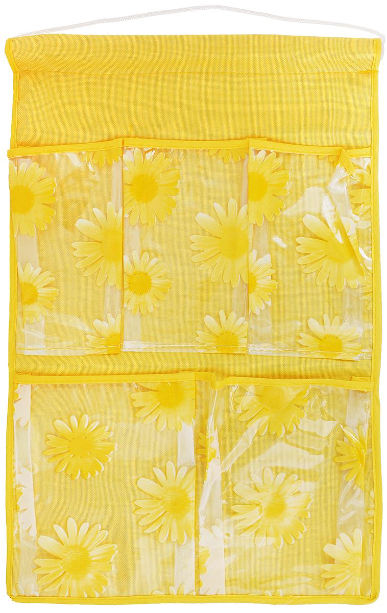 Кармашки на стену Sima-land Герберы, цвет: желтый, 5 отделений455709Кармашки на стену Sima-land Герберы, изготовленные из текстиля, предназначены для хранения необходимых вещей, множества мелочей в гардеробной, ванной или детской. Изделие представляет собой полотно с 5 пришитыми кармашками из ПВХ, декорированные изображением цветов. Благодаря пластиковой трубке и шнурку, кармашки можно подвесить на стену или дверь в необходимом для вас месте. Этот нужный предмет может стать одновременно и декоративным элементом комнаты. Размеры кармашков: 9 х 16 см; 9,5 х 16 см; 13,5 х 17 см; 14 х 17 см.