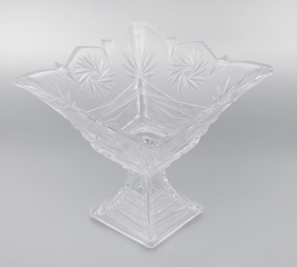 Конфетница на ножке Soga Picasso, 24 х 24 смZ4285WЭлегантная конфетница Soga Picasso на ножке, изготовленная из прочного стекла, имеет многогранную рельефную поверхность. Конфетница предназначена для красивой сервировки сладостей. Изделие придется по вкусу и ценителям классики, и тем, кто предпочитает утонченность и изящность. Конфетница Soga Picasso украсит сервировку вашего стола и подчеркнет прекрасный вкус хозяина, а также станет отличным подарком. Можно мыть в посудомоечной машине. Размер по верхнему краю: 24 х 24 см. Высота: 21,5 см.