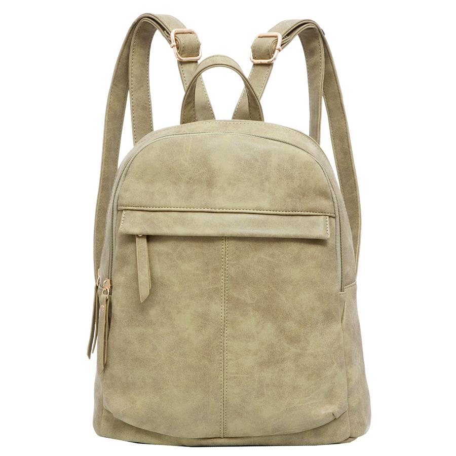 Рюкзак женский OrsOro, цвет: оливковый. D-237/3D-237/3Рюкзак с двумя отделениями, на молнии, один передний карман на молнии. Внутренний карман на молнии, карман для телефона, задний карман на молнии