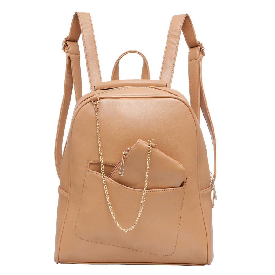 Рюкзак женский OrsOro, цвет: бежевый. D-238/12D-238/12Рюкзак с одним отделением, на молнии, передний карман, два внутренних кармана один из них на молнии, карман для телефона, задний карман на молнии, подвесной кошелёк на цепочке