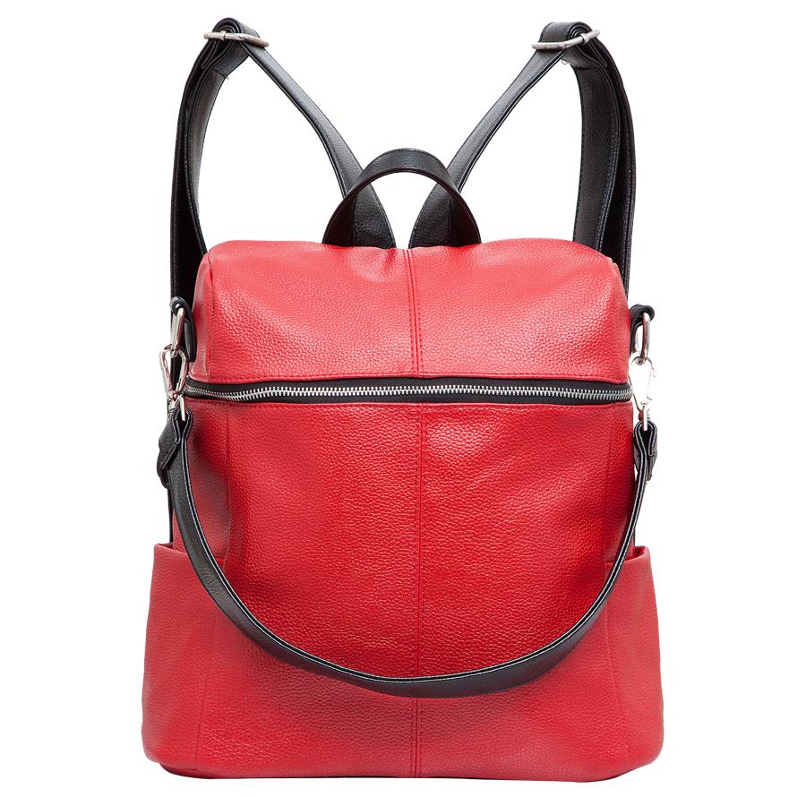 Рюкзак женский OrsOro, цвет: красный. D-243/13D-243/13Рюкзак с одним отделением, на молнии, два боковых кармана. Внутренний карман на молнии, перегородка, карман для телефона, задний карман на молнии