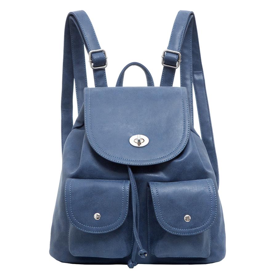 Рюкзак женский OrsOro, цвет: синий. D-244/2D-244/2Рюкзак на затяжках с клапаном, одно отделение, два передних кармана с клапанами на кнопках, внутренний карман на молнии, карман для телефона, задний карман на молнии.