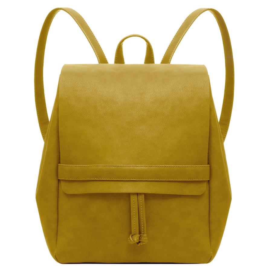 Рюкзак женский OrsOro, цвет: горчичный. D-245/5D-245/5Рюкзак с одним отделением на затяжках, клапаном на хлястике-фиксаторе