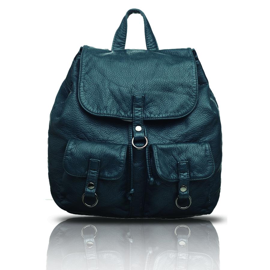 Рюкзак женский OrsOro, цвет: синий. D-254/2D-254/2Рюкзак на затяжках с клапаном на кнопке, одно отделение, два передних кармана с клапанами на кнопках, внутренний карман на молнии, карман для телефона, задний карман на молнии.