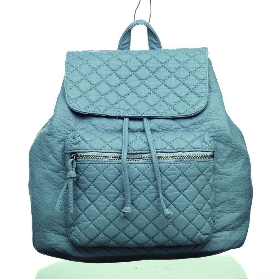 Рюкзак женский OrsOro, цвет: серо-голубой. D-255/8D-255/8Рюкзак на затяжках с клапаном на кнопке, одно отделение, передний карман на молнии, внутренний карман на молнии, карман для телефона, задний карман на молнии.