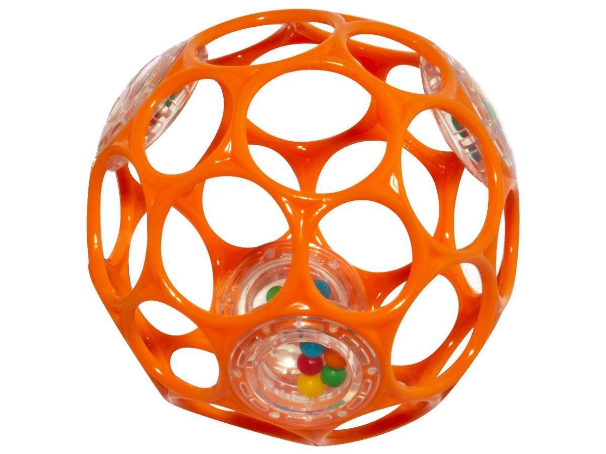 Oball Мячик Гремящий цвет оранжевый81031_оранжевыйЯркий мячик Oball Гремящий издает забавные звуки, стоит малышу его потрясти. Ажурный и легкий мячик имеет много крупных дырочек, что позволяет малышу удобно держать игрушку. По периметру мячика находятся 3 прозрачных контейнера с разноцветными бусинками, которые при тряске издают негромкий звук. Мячик выполнен из гибкого пластика, приятный на ощупь, не имеет острых краев, полностью безопасен для крохи. Игрушка развивает мелкую моторику, зрение и слух малыша.