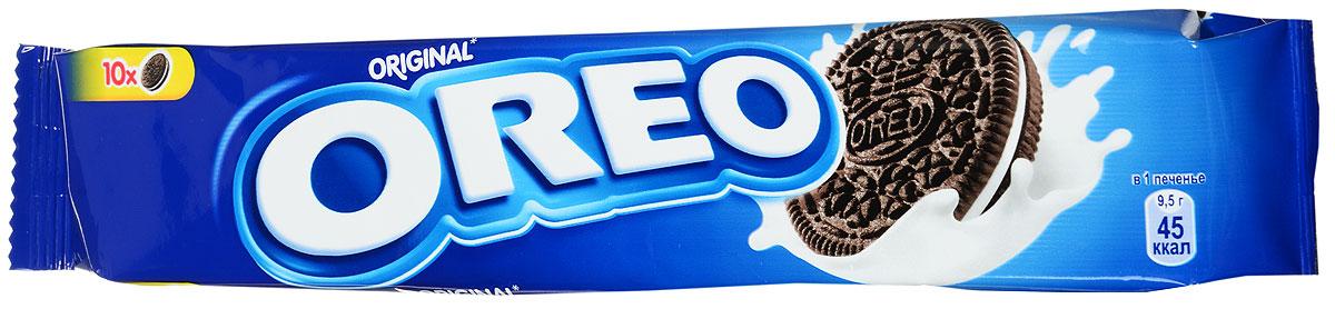 Печенье Oreo любит весь мир. Взрослым и детям нравится забавный способ которым едят Oreo. Покрути+Лизни+Обмакни=Oreo. Попробуйте, это весело и очень легко. C какао и начинкой с ванильным вкусом. Пищевая ценность в 100 г: белки - 4,9 г; углеводы - 68 г, в том числе сахара - 36,5 г; жиры - 20,8, в том числе насыщенные жирные кислоты - 9,7 г; пищевые волокна -1,6 г; натрий - 0,4 г.
