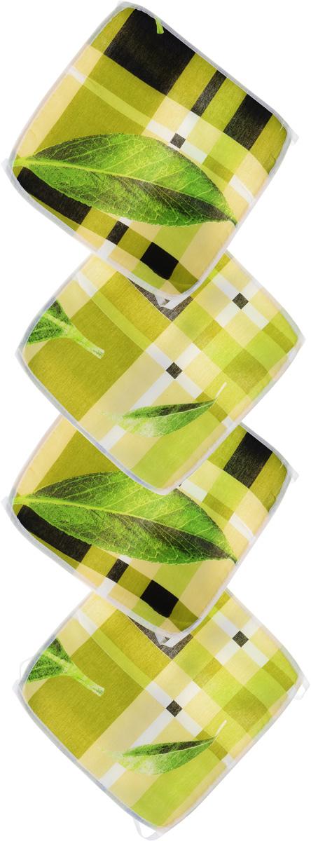 Набор подушек для стула Eva Листья, цвет: бежевый, светло-зеленый, 34 х 34 см, 4 штЕ06-1_листПодушки на стул Eva Листья, выполненные из хлопка с наполнителем из поролона, легко крепятся на стул с помощью завязок. Изделия прекрасно подойдут для стульев на кухне или в столовой. Правильно сидеть - значит сохранить здоровье на долгие годы. Жесткие сидения подвергают наше здоровье опасности. Подушки с наполнителем из поролона помогут предотвратить многие беды, которыми грозит сидячий образ жизни. Рекомендуется ручная стирка при температуре 30°С. Комплектация: 4 шт. Размер подушки: 34 х 34 х 0,5 см.