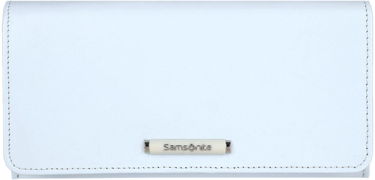 Кошелек женский Samsonite, цвет: голубой. 71V*4131471V*41314Стильный женский кошелек Samsonite выполнен из натуральной кожи. Внутри содержатся четыре отделения для купюр, карман на застежке-молнии для мелочи, пятнадцать кармашков для визиток и пластиковых карт, одно из которых с сетчатым окошком, карман для документов с отделением на застежке-молнии, потайной карман и кармашек с сетчатым окошком. Закрывается изделие на клапан с застежкой-кнопкой, оформленный декоративным элементом с названием бренда. Изделие упаковано в фирменную коробку. Кошелек станет отличным подарком человеку, ценящему практичные и стильные вещи, а качество его исполнения представит такой подарок в самом выгодном свете.