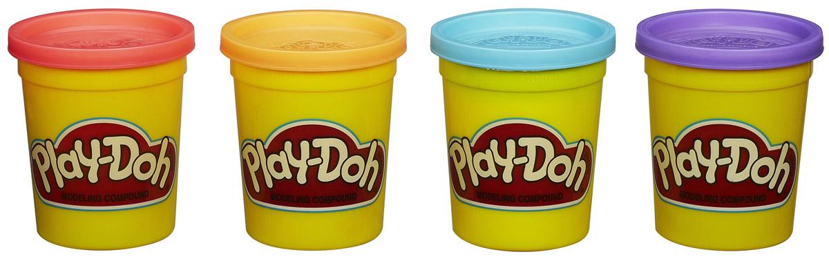 Play-Doh Пластилин цвет розовый темно-желтый голубой сиреневый 4 шт
