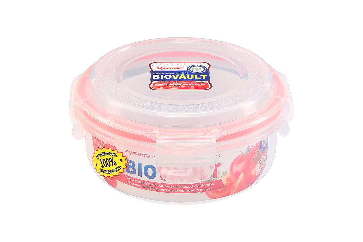 Контейнер пищевой Xeonic, круглый, цвет: прозрачный, красный, 390 мл. 810067810067Пластиковые герметичные контейнеры для хранения продуктов Xeonic произведены из высококачественных материалов, имеют 100% герметичность, термоустойчивы, могут быть использованы в микроволновой печи и в морозильной камере, устойчивы к воздействию масел и жиров, не впитывают запах. Удобны в использовании, долговечны, легко открываются и закрываются, не занимают много места, можно мыть в посудомоечной машине. Размеры контейнера: 13,5 х 13,5 х 6,5 см.