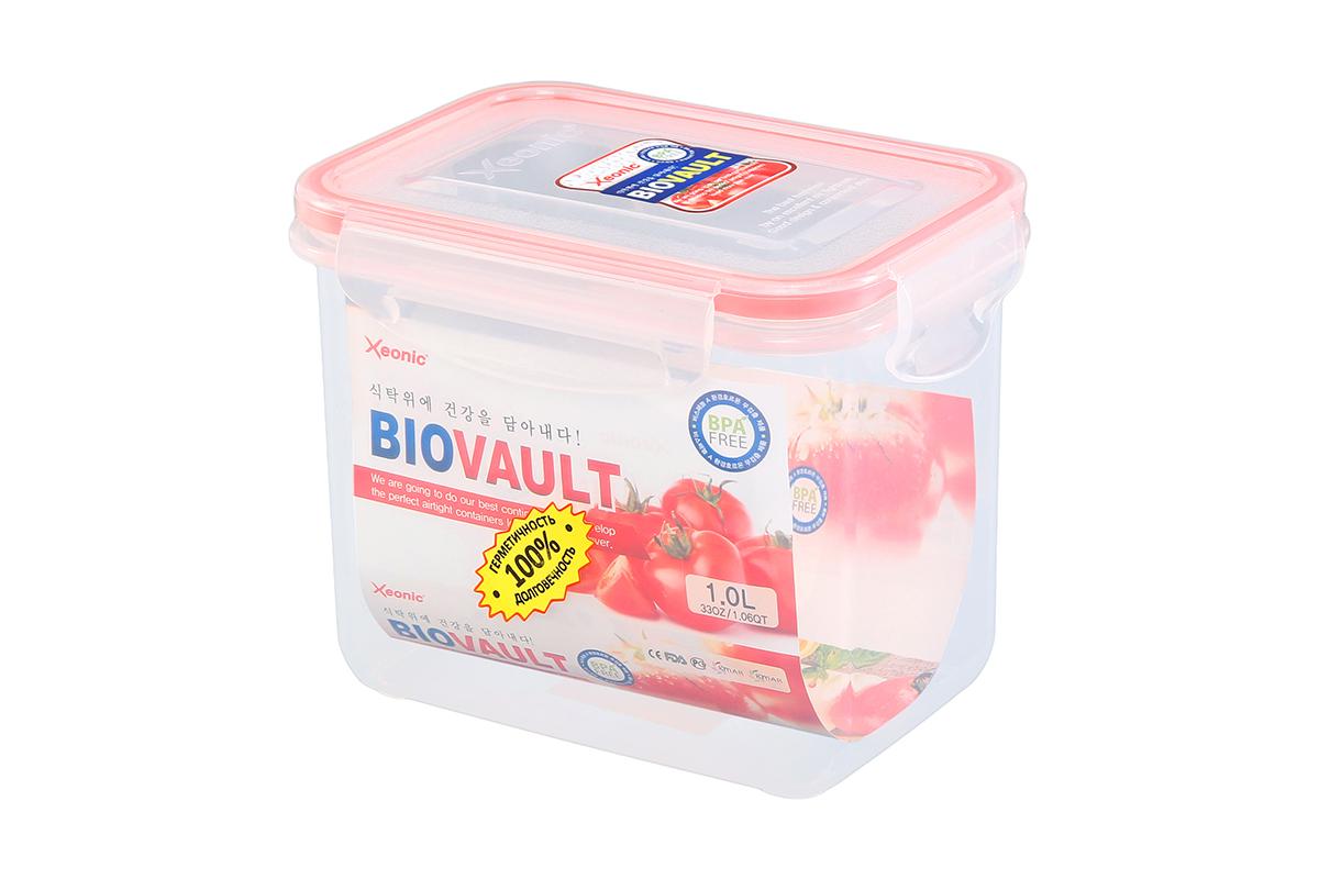 Контейнер пищевой Xeonic, прямоугольный, цвет: прозрачный, красный, 1 л. 810075810075Пластиковые герметичные контейнеры для хранения продуктов Xeonic произведены из высококачественных материалов, имеют 100% герметичность, термоустойчивы, могут быть использованы в микроволновой печи и в морозильной камере, устойчивы к воздействию масел и жиров, не впитывают запах. Удобны в использовании, долговечны, легко открываются и закрываются, не занимают много места, можно мыть в посудомоечной машине. Размеры контейнера: 14,7 х 10,5 х 11,7 см.