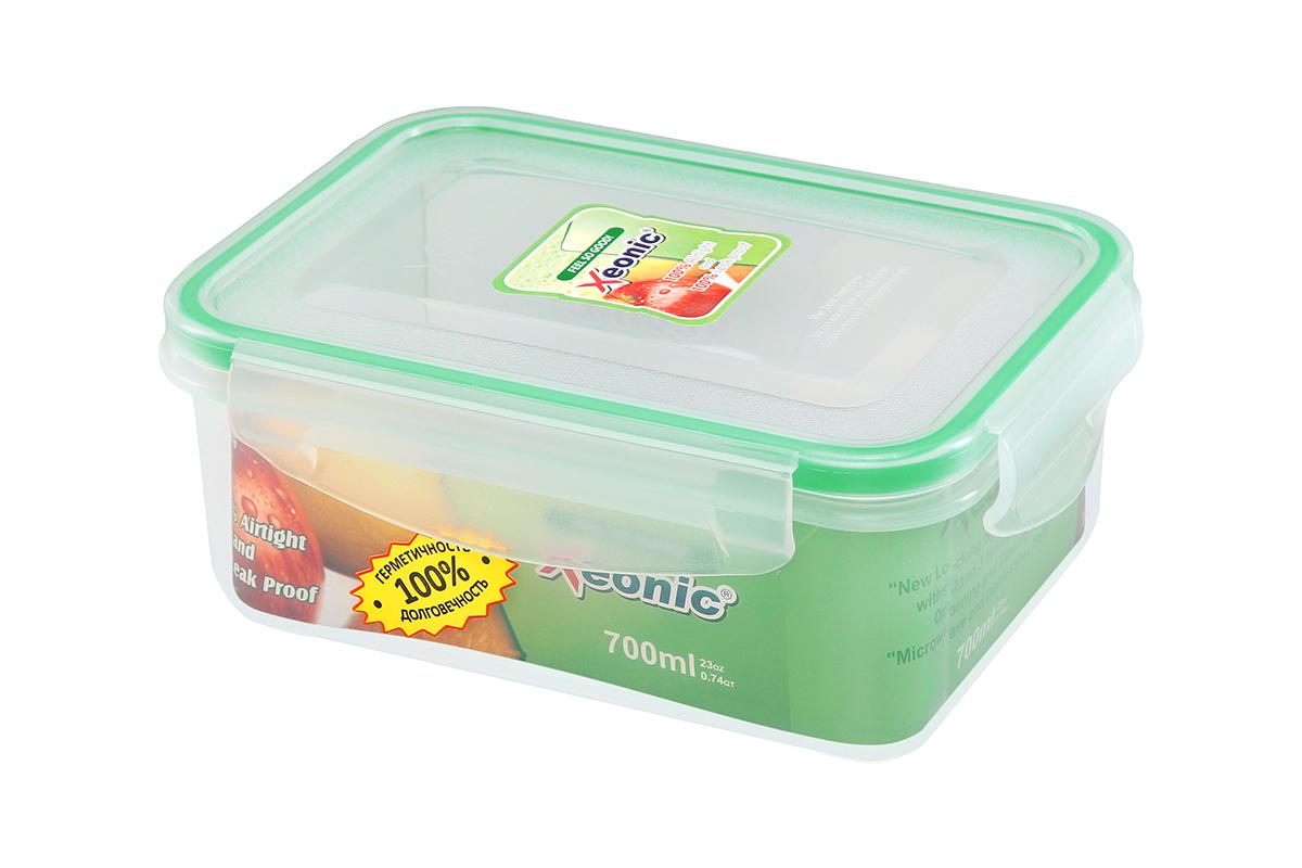 """Контейнер пищевой """"Xeonic"""", прямоугольный, цвет: прозрачный, зеленый, 700 мл. 810094"""