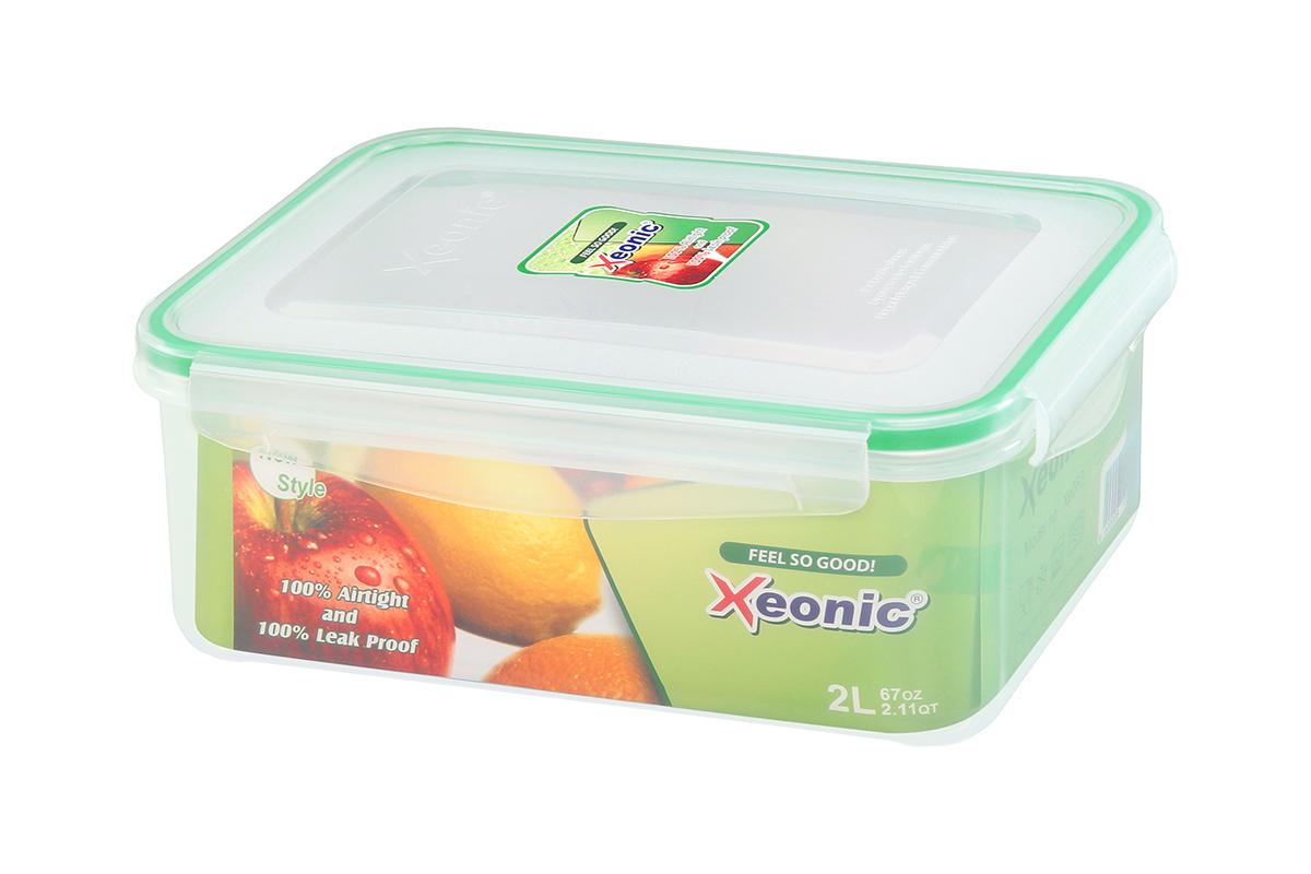 Контейнер пищевой Xeonic, прямоугольный, цвет: прозрачный, зеленый, 2 л. 810097810097Пластиковые герметичные контейнеры для хранения продуктов Xeonic произведены из высококачественных материалов, имеют 100% герметичность, термоустойчивы, могут быть использованы в микроволновой печи и в морозильной камере, устойчивы к воздействию масел и жиров, не впитывают запах. Удобны в использовании, долговечны, легко открываются и закрываются, не занимают много места, можно мыть в посудомоечной машине. Размеры контейнера: 23 х 16,5 х 9 см.