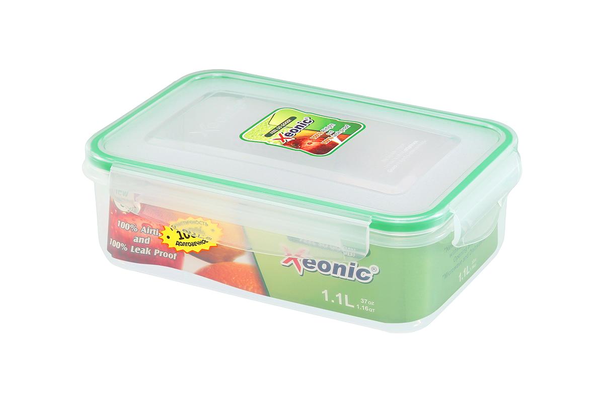Контейнер пищевой Xeonic, прямоугольный, цвет: прозрачный, зеленый, 1,1 л. 810098810098Пластиковые герметичные контейнеры для хранения продуктов Xeonic произведены из высококачественных материалов, имеют 100% герметичность, термоустойчивы, могут быть использованы в микроволновой печи и в морозильной камере, устойчивы к воздействию масел и жиров, не впитывают запах. Удобны в использовании, долговечны, легко открываются и закрываются, не занимают много места, можно мыть в посудомоечной машине. Размеры контейнера: 20 х 14 х 6,8 см.