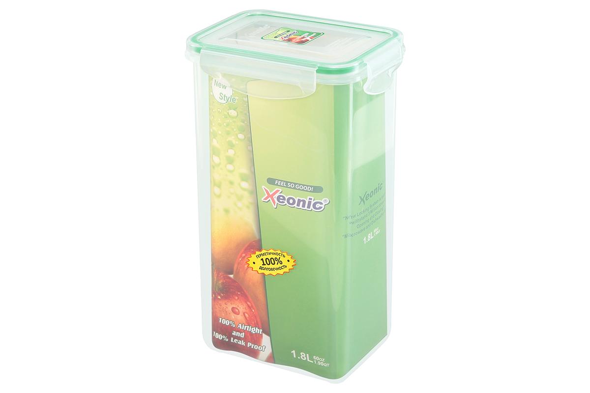 Контейнер пищевой Xeonic, прямоугольный, цвет: прозрачный, зеленый, 1,8 л. 810103810103Пластиковые герметичные контейнеры для хранения продуктов Xeonic произведены из высококачественных материалов, имеют 100% герметичность, термоустойчивы, могут быть использованы в микроволновой печи и в морозильной камере, устойчивы к воздействию масел и жиров, не впитывают запах. Удобны в использовании, долговечны, легко открываются и закрываются, не занимают много места, можно мыть в посудомоечной машине. Размеры контейнера: 13,5 х 10 х 23,6 см.