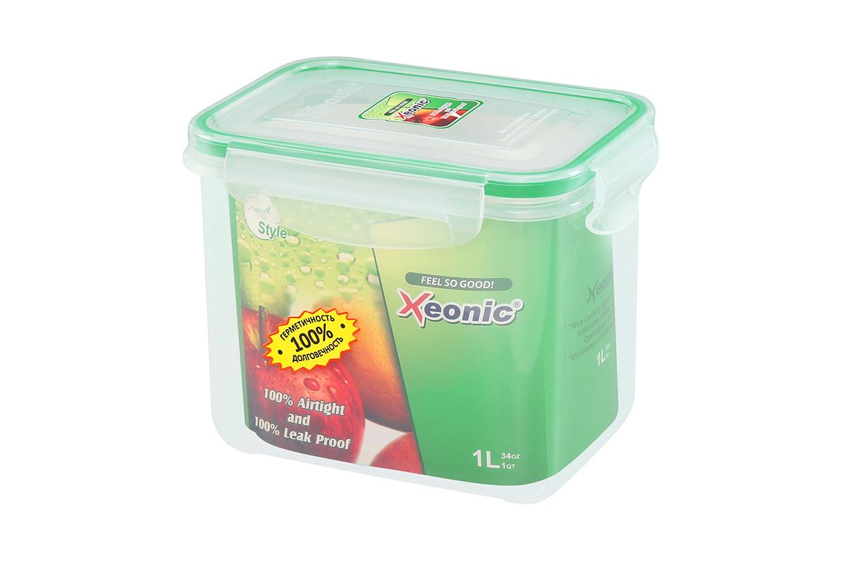 Контейнер пищевой Xeonic, прямоугольный, цвет: прозрачный, зеленый, 1 л. 810104810104Пластиковые герметичные контейнеры для хранения продуктов Xeonic произведены из высококачественных материалов, имеют 100% герметичность, термоустойчивы, могут быть использованы в микроволновой печи и в морозильной камере, устойчивы к воздействию масел и жиров, не впитывают запах. Удобны в использовании, долговечны, легко открываются и закрываются, не занимают много места, можно мыть в посудомоечной машине. Размеры контейнера: 14,7 х 10,5 х 11,7 см.