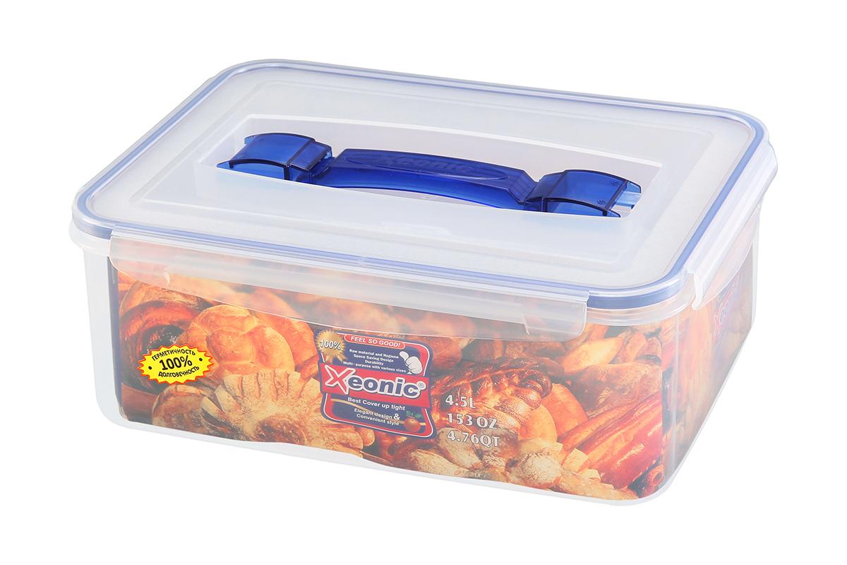 Контейнер пищевой Xeonic, прямоугольный, с ручкой, цвет: прозрачный, синий, 4,5 л. 810109810109Пластиковые герметичные контейнеры для хранения продуктов Xeonic произведены из высококачественных материалов, имеют 100% герметичность, термоустойчивы, могут быть использованы в микроволновой печи и в морозильной камере, устойчивы к воздействию масел и жиров, не впитывают запах. Удобны в использовании, долговечны, легко открываются и закрываются, не занимают много места, можно мыть в посудомоечной машине. Размеры контейнера: 29 х 21,5 х 10,7 см.
