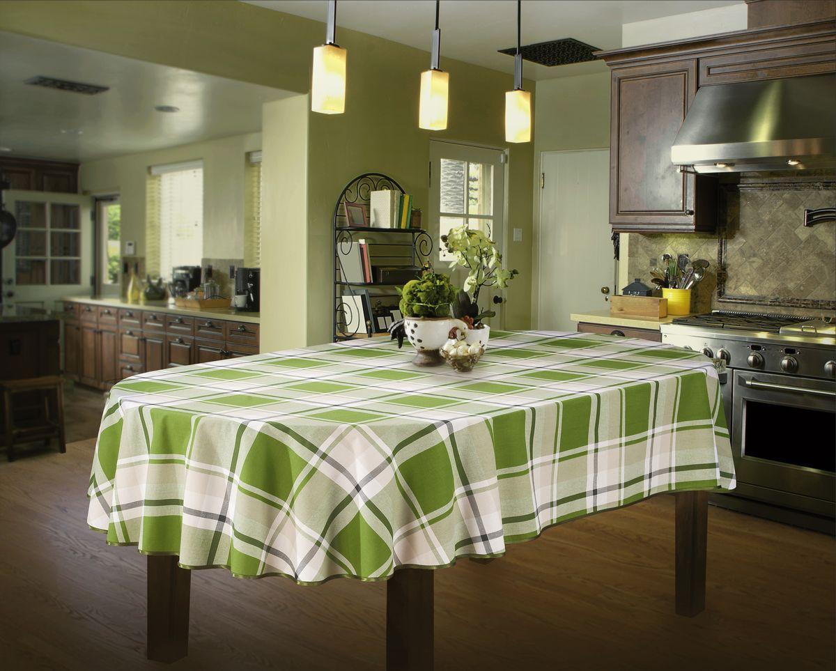 Скатерть Wisan, овальная, цвет: зеленый, 130 х 180 см332ВСкатерть выполнена в европейском стиле,ткань плотная.