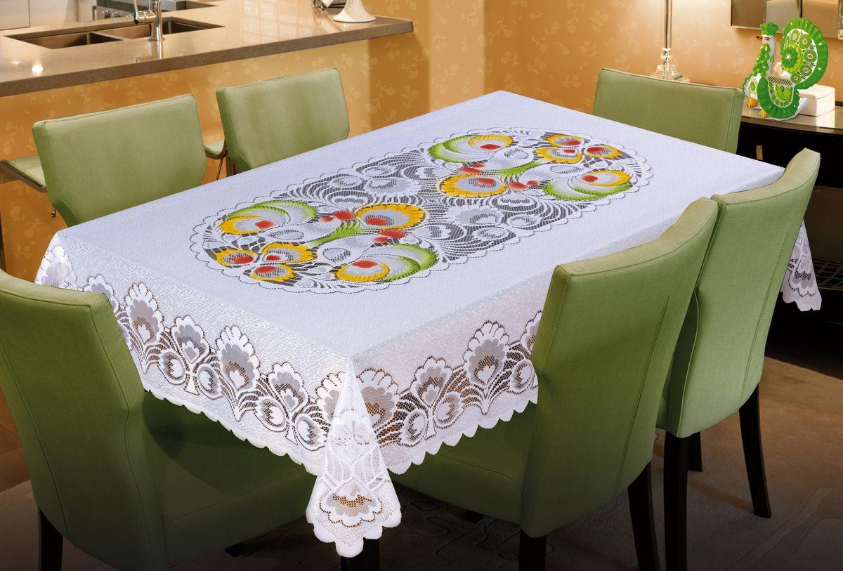 Скатерть Wisan, прямоугольная, цвет: белый, 130 х 180 см137ВБелая жаккардовая скатерть с цветным орнаментом в центре.