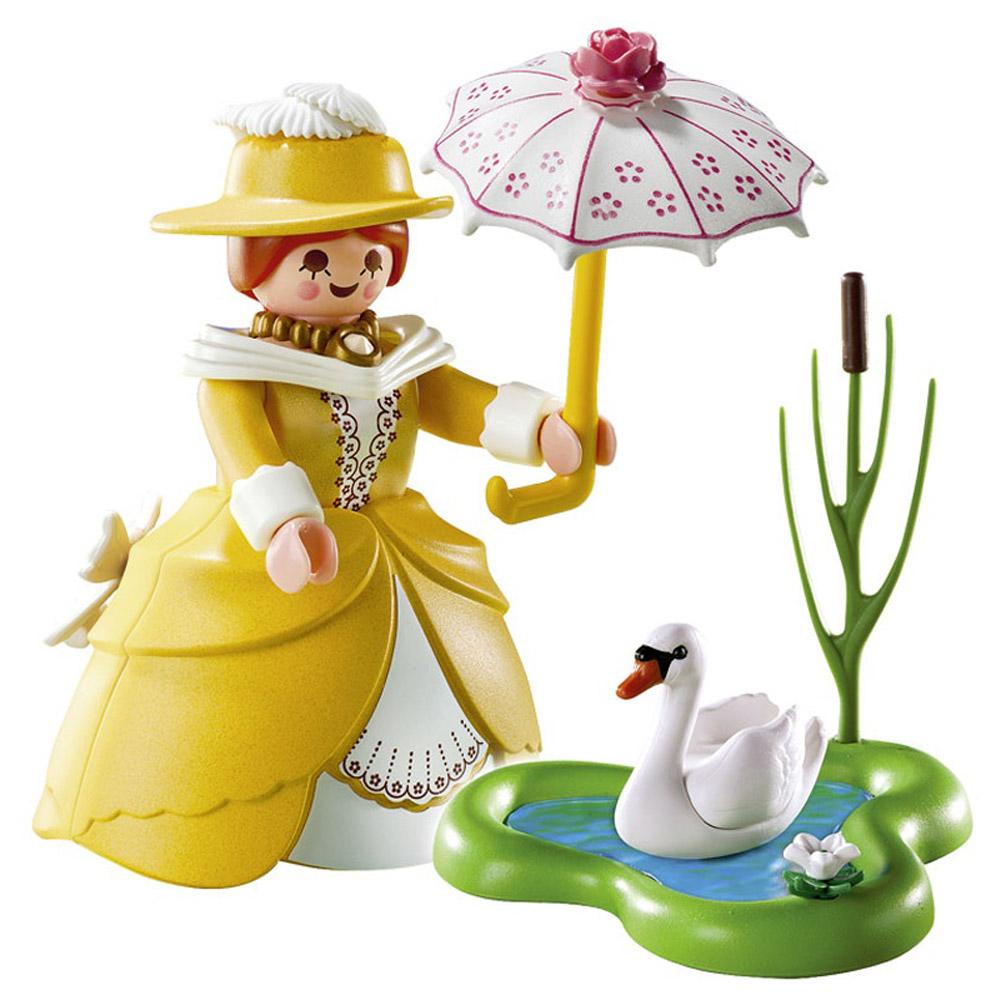 Playmobil Игровой набор Принцесса с прудом5410pmИгровой набор Playmobil Принцесса с прудом непременно приведет в восторг вашу малышку. В комплект входит фигурка принцессы, зонтик, фигурка лебедя и пруд. Элементы набора выполнены из прочного пластика ярких цветов и легко соединяются между собой. Руки и голова фигурки подвижны, а благодаря специальной форме ручек, она может держать различные небольшие предметы. Самое время после обеда сходить на пруд. Принцессы очень это любят. Зонтик прикроет от солнечных лучей, а на пруду будет плавать белоснежный лебедь. Игры с таким набором позволят ребенку весело провести время. А процесс сборки игрушки поможет малышке развить мелкую моторику, внимательность и усидчивость. Порадуйте свою малышку такой чудесной игрушкой!