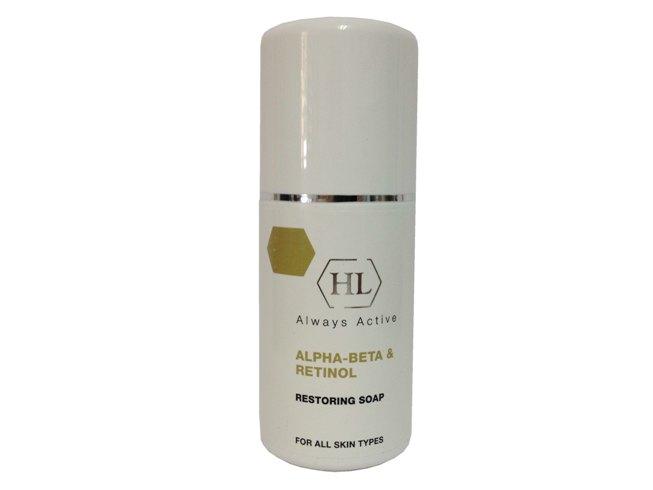Holy Land Восстанавливающее мыло с ретинолом Alpha-Beta & Retinol Restoring Soap, 125 мл111034Питательное очищающее мыло. В составе мыла полезные альфа-кислоты, которые очищают кожу от омертвевших клеток кожи, выравнивает цвет лица, улучшает структуру кожного покрова. Не нарушает водный баланс кожи, укрепляет ее естественный барьер. Очищает поры, сужая их. Фруктовые кислоты помогают коже оставаться упругой и сияющей.
