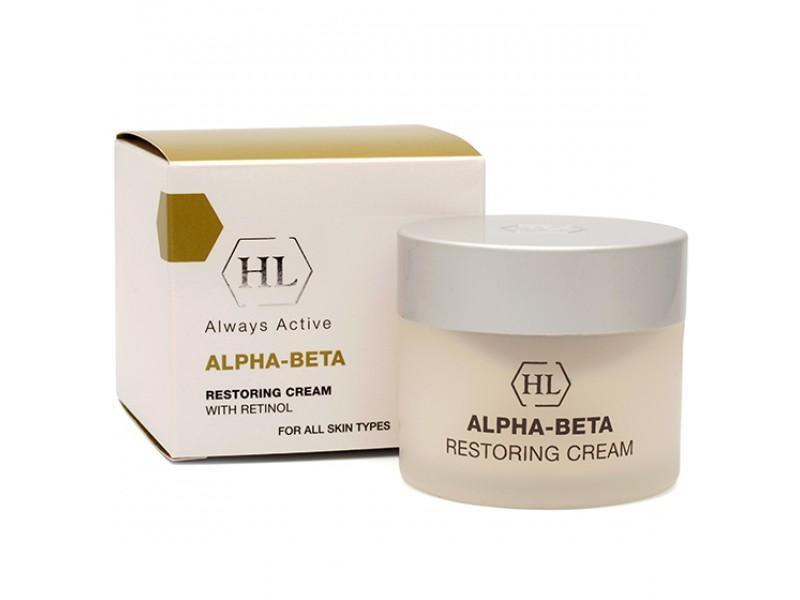 Holy Land Восстанавливающий крем Alpha-Beta and Retinol Restoring Cream, 50 мл111067Незаменимый для всей семьи восстанавливающий крем ALPHA-BETA Restoring Cream содержит высокую концентрацию активных ингредиентов, что позволяет выполнять сразу несколько функций. Он применяется при акне, розацеа, себорейном дерматите, фото и хроностарении, грубой, неровной шелушащейся коже, нарушениях пигментации, проблемах с ногтями. Этот крем относится к универсальным, то есть может применяться в любое время суток и на различных участках кожи. Для получения эффекта достаточно совсем небольшого количества крема, поэтому он очень экономичен.