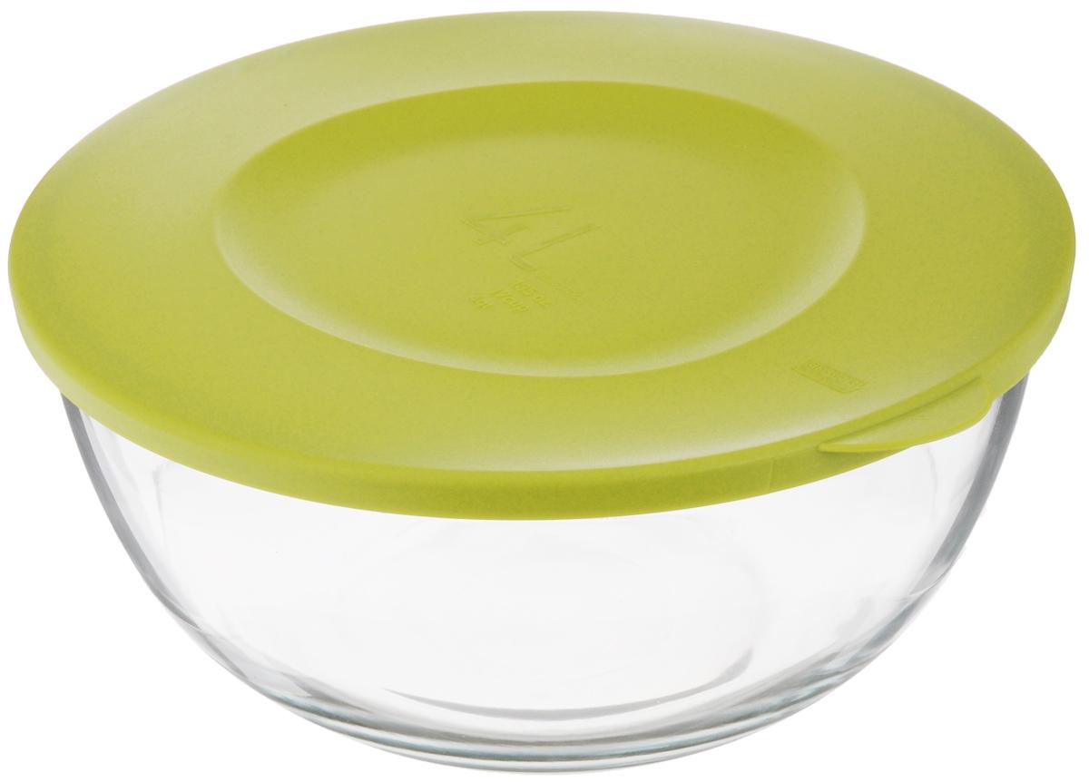 Чаша Glasslock, с крышкой, цвет: прозрачный, зеленый, 4 лMBCB-400FЧаша Glasslock выполнена из закаленного ударопрочного стекла. Изделие плотно и герметично закрывается пластиковой крышкой, что позволяет продуктам дольше оставаться свежими, сохранять аромат и вкус. Благодаря прозрачным стенкам, можно видеть содержимое. Такая чаша подходит для повседневного использования. Она идеальна для овсяных хлопьев, фруктов, риса и многого другого. Также в ней можно приготовить салаты. Приятный дизайн подойдет практически для любого случая. Можно мыть в посудомоечной машине, использовать в СВЧ-печах. Подходит для хранения пищи в холодильнике и морозильнике. Не использовать в духовке. Размер чаши (с учетом крышки): 28 х 26,5 х 12,5 см.