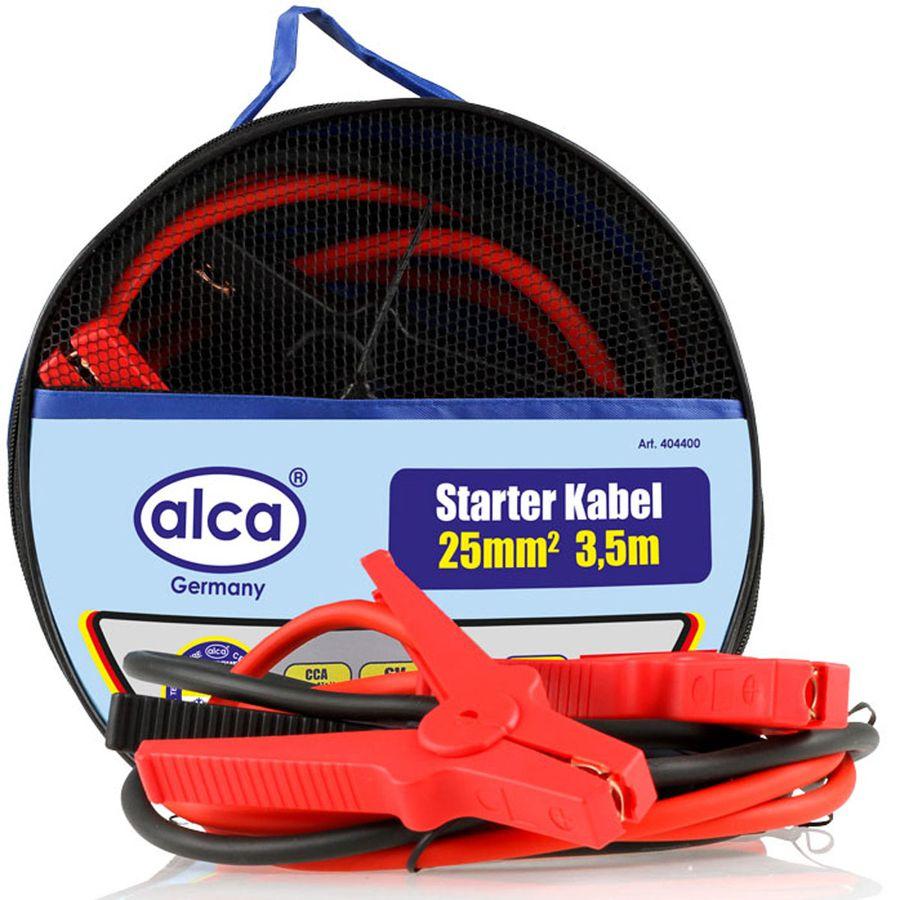 Провода вспомогательного запуска Alca, 400 А, 3 м404400Провода вспомогательного запуска Alca необходимы в экстренных ситуациях, когда АКБ транспортного средства находится в разряженном состоянии, зарядно-пусковое устройство недоступно и запускать двигатель за счет буксировки нельзя. Алюминиевый провод с медным покрытием, полностью изолированные зажимы. Морозостойкий и эластичный. Провода вспомогательного запуска применяются для запуска двигателей легковых и грузовых автомобилей. Подсоединяются к одноименным клеммам аккумулятора. Длина: 3 м. Сила тока: 400 А.